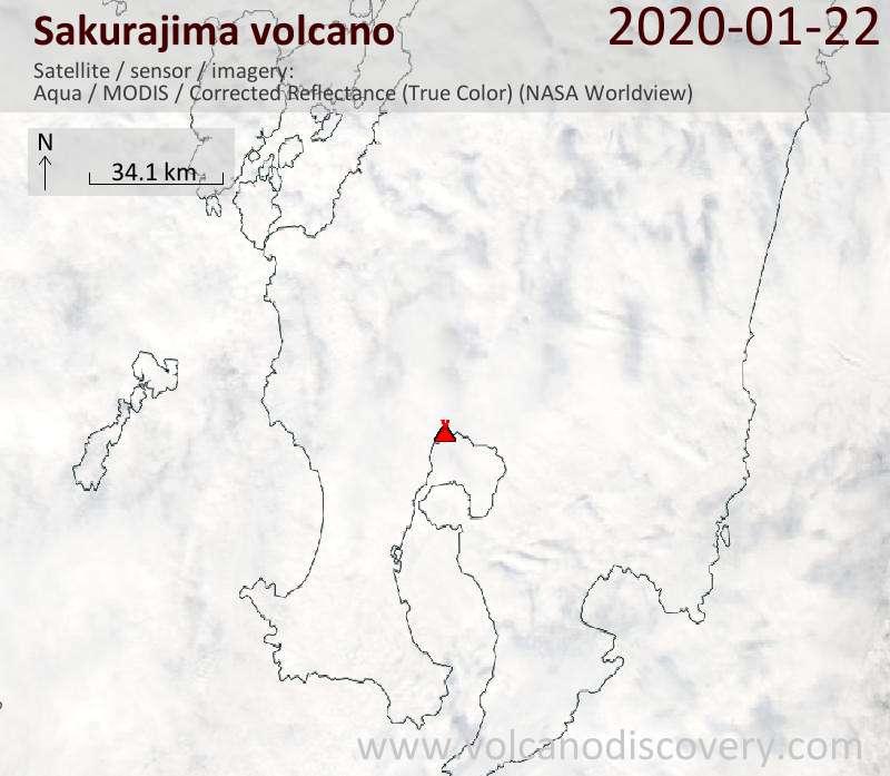 Satellitenbild des Sakurajima Vulkans am 22 Jan 2020