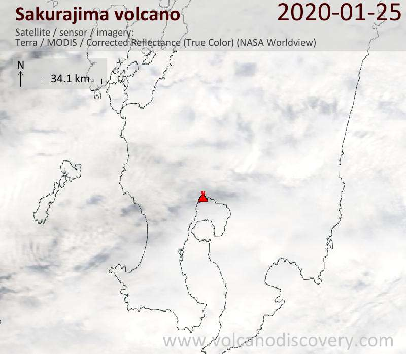 Satellitenbild des Sakurajima Vulkans am 25 Jan 2020