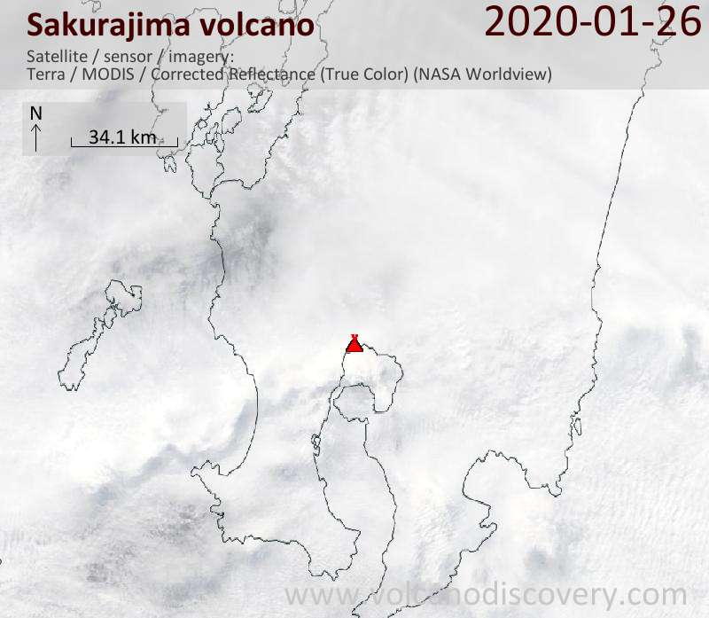 Satellite image of Sakurajima volcano on 26 Jan 2020