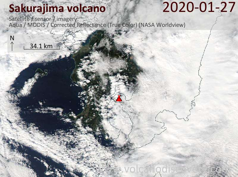 Satellite image of Sakurajima volcano on 27 Jan 2020