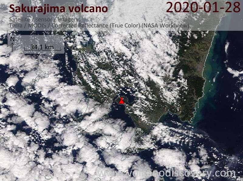 Satellitenbild des Sakurajima Vulkans am 28 Jan 2020