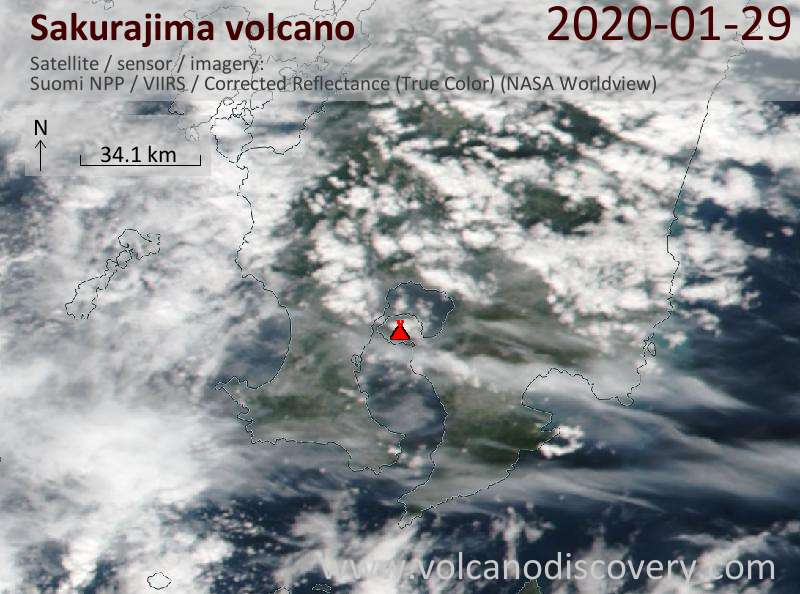 Satellite image of Sakurajima volcano on 30 Jan 2020