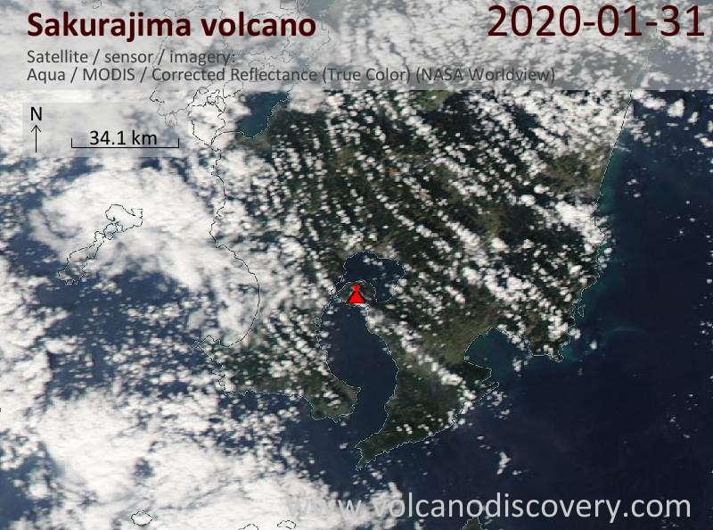 Satellite image of Sakurajima volcano on 31 Jan 2020