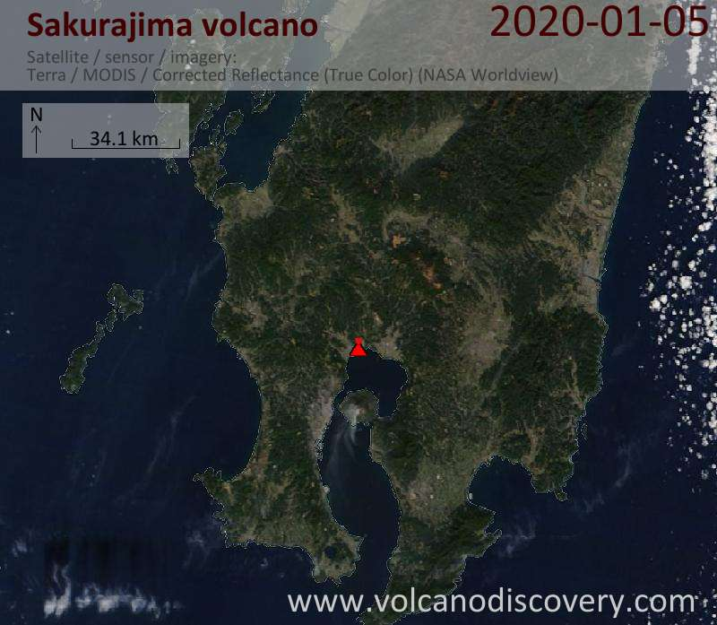 Satellitenbild des Sakurajima Vulkans am  5 Jan 2020