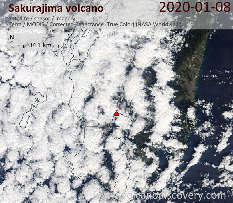 Satellite image of Sakurajima volcano on  8 Jan 2020