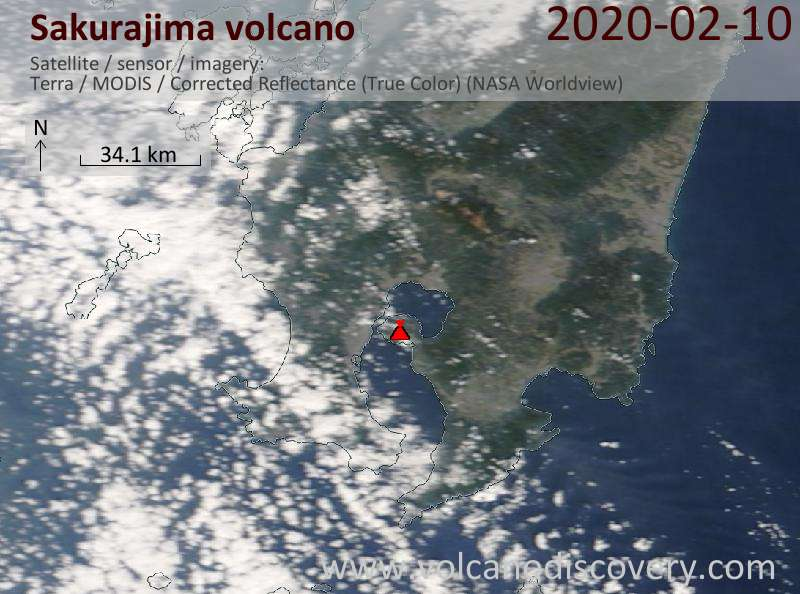 Satellitenbild des Sakurajima Vulkans am 10 Feb 2020