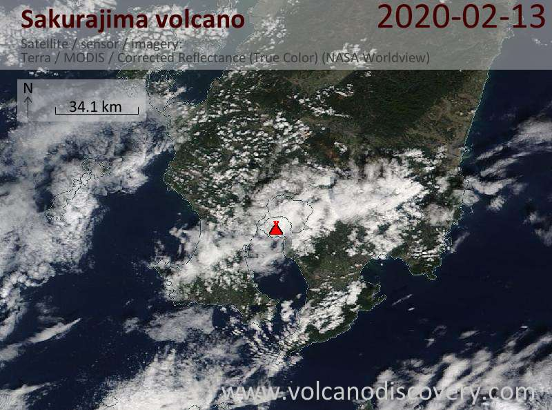 Satellitenbild des Sakurajima Vulkans am 13 Feb 2020