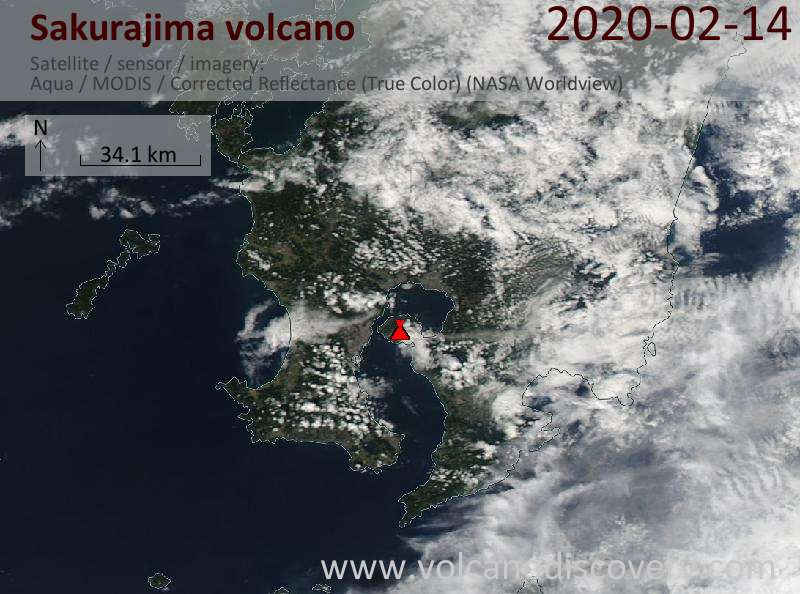 Satellite image of Sakurajima volcano on 14 Feb 2020