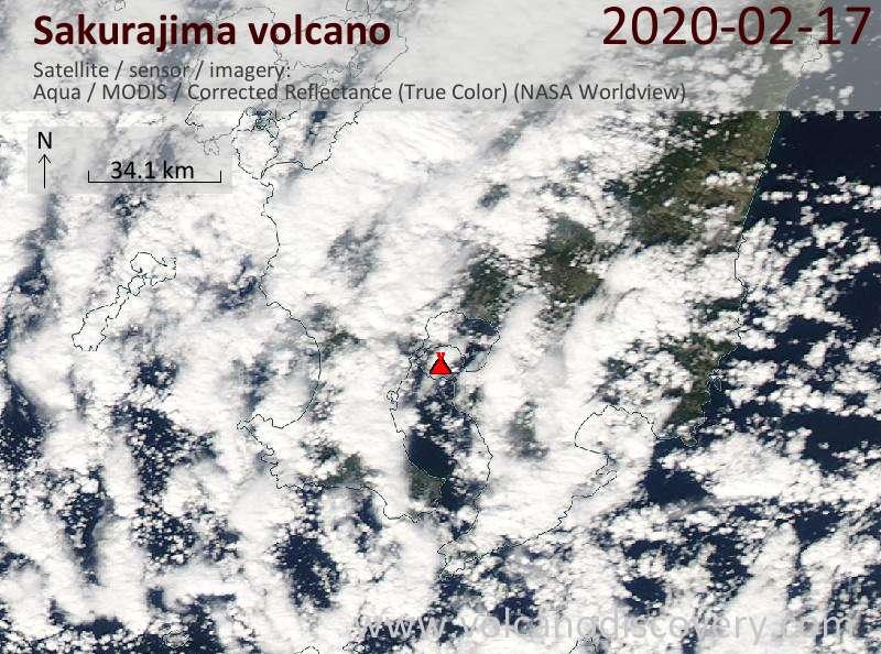 Спутниковое изображение вулкана Sakurajima 17 Feb 2020
