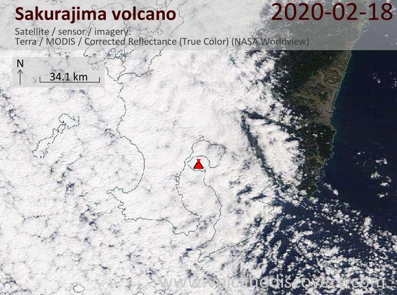 Спутниковое изображение вулкана Sakurajima 18 Feb 2020