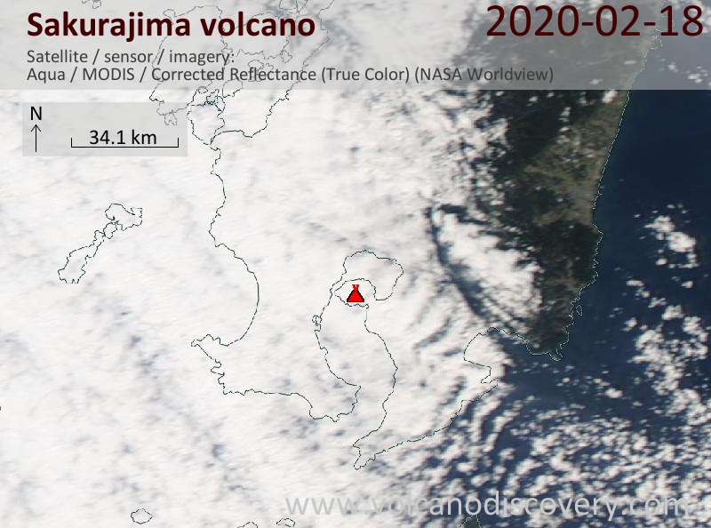 Satellite image of Sakurajima volcano on 19 Feb 2020
