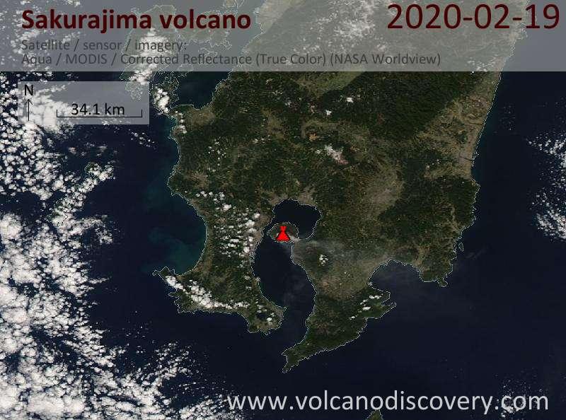Satellite image of Sakurajima volcano on 20 Feb 2020