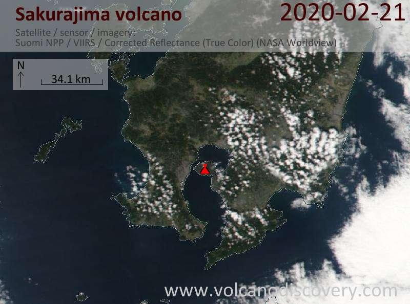 Satellite image of Sakurajima volcano on 21 Feb 2020