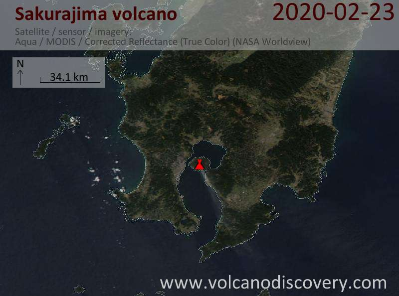 Satellite image of Sakurajima volcano on 24 Feb 2020