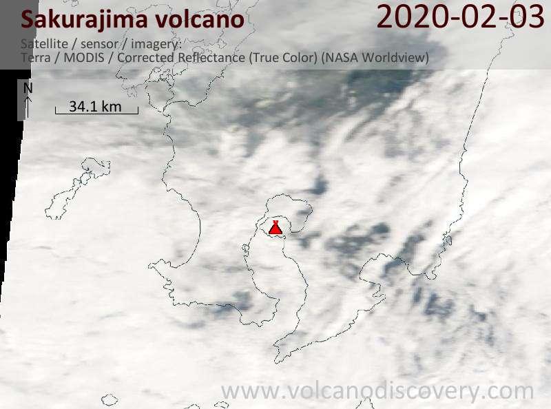 Спутниковое изображение вулкана Sakurajima  3 Feb 2020