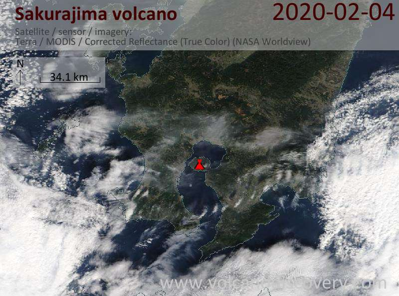 Satellite image of Sakurajima volcano on  4 Feb 2020