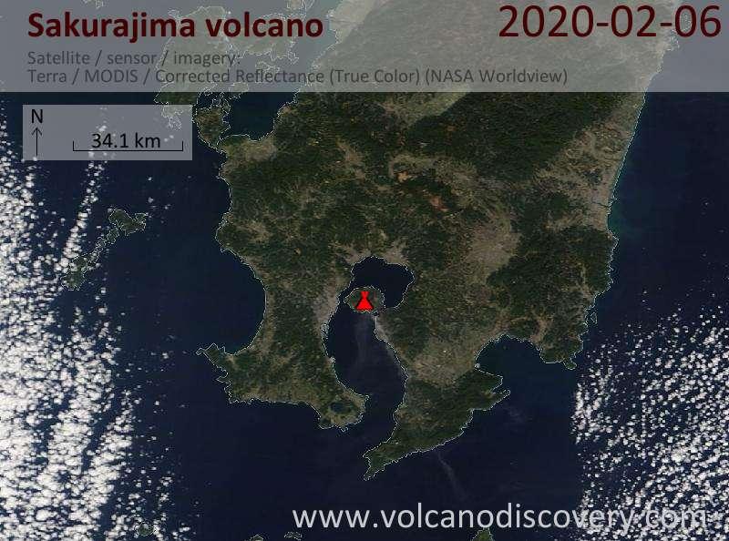Satellite image of Sakurajima volcano on  6 Feb 2020