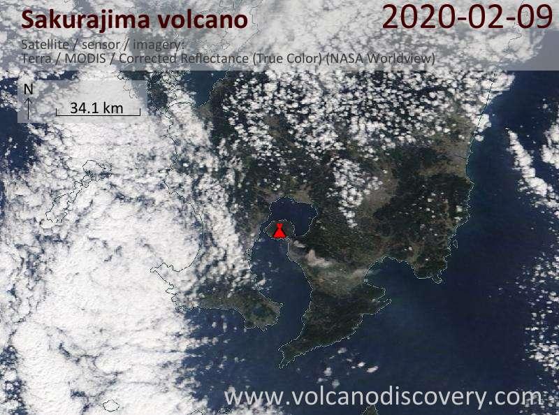 Спутниковое изображение вулкана Sakurajima  9 Feb 2020