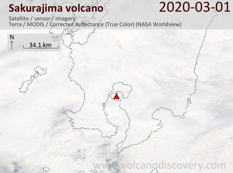 Satellite image of Sakurajima volcano on  1 Mar 2020