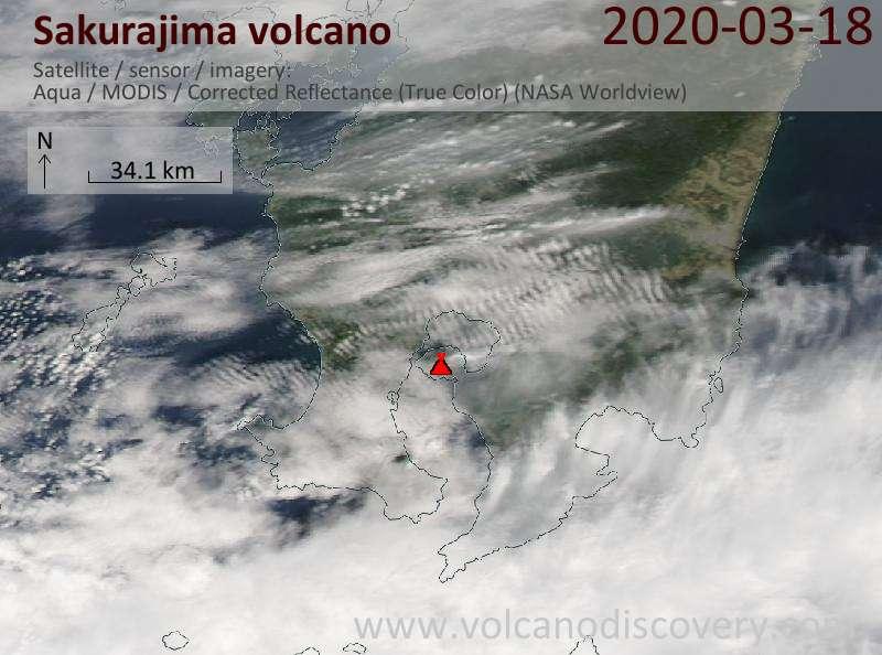 Satellite image of Sakurajima volcano on 18 Mar 2020