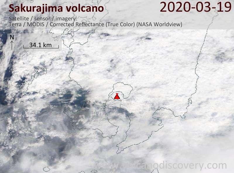 Спутниковое изображение вулкана Sakurajima 19 Mar 2020