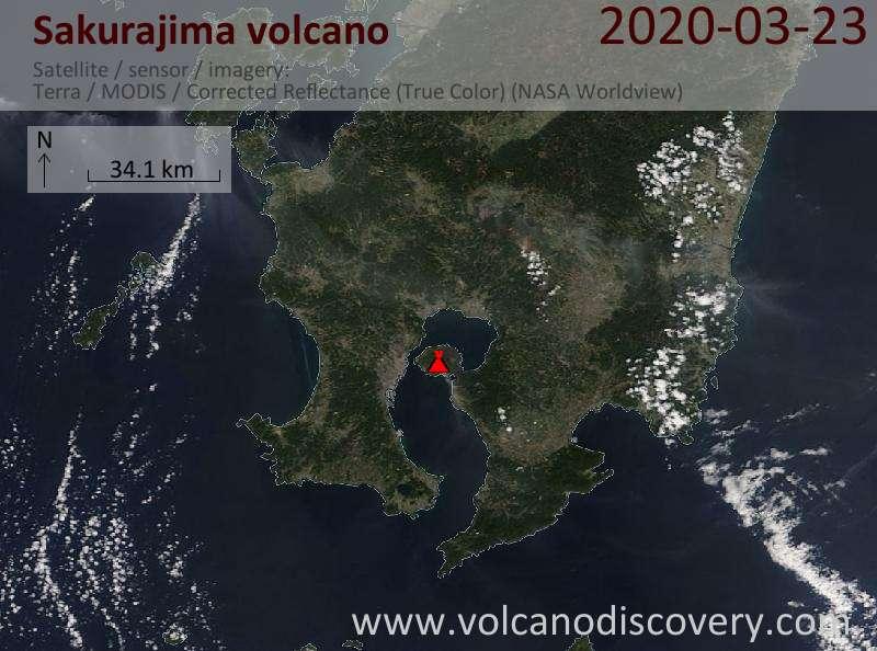 Satellite image of Sakurajima volcano on 24 Mar 2020