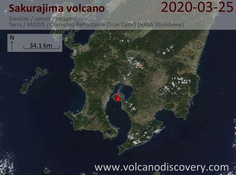 Satellitenbild des Sakurajima Vulkans am 25 Mar 2020