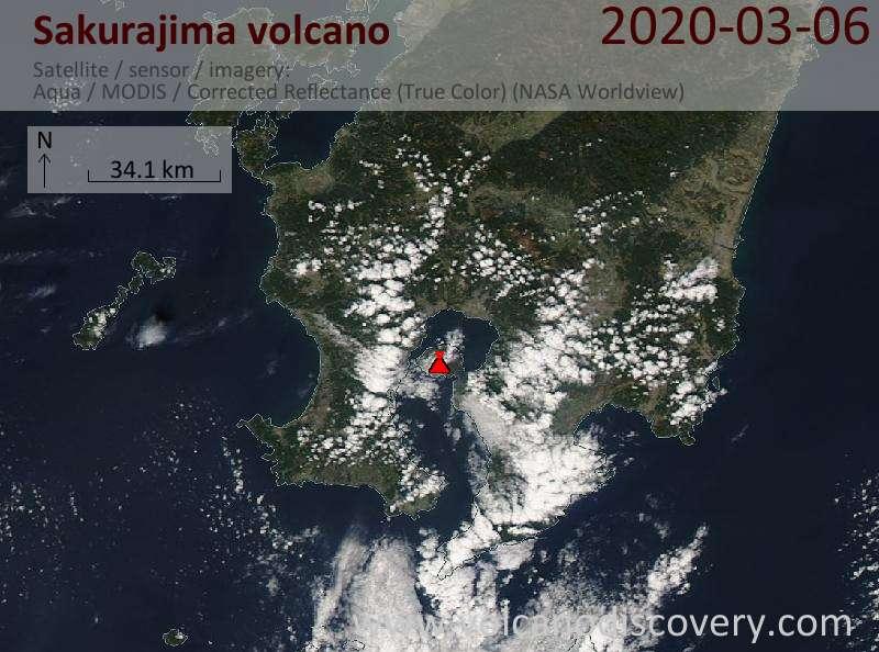 Satellite image of Sakurajima volcano on  6 Mar 2020