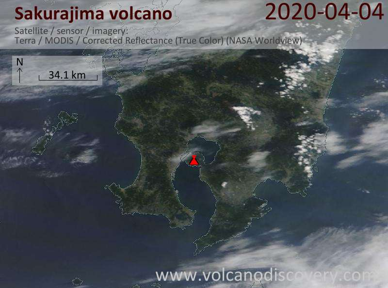 Satellite image of Sakurajima volcano on  4 Apr 2020