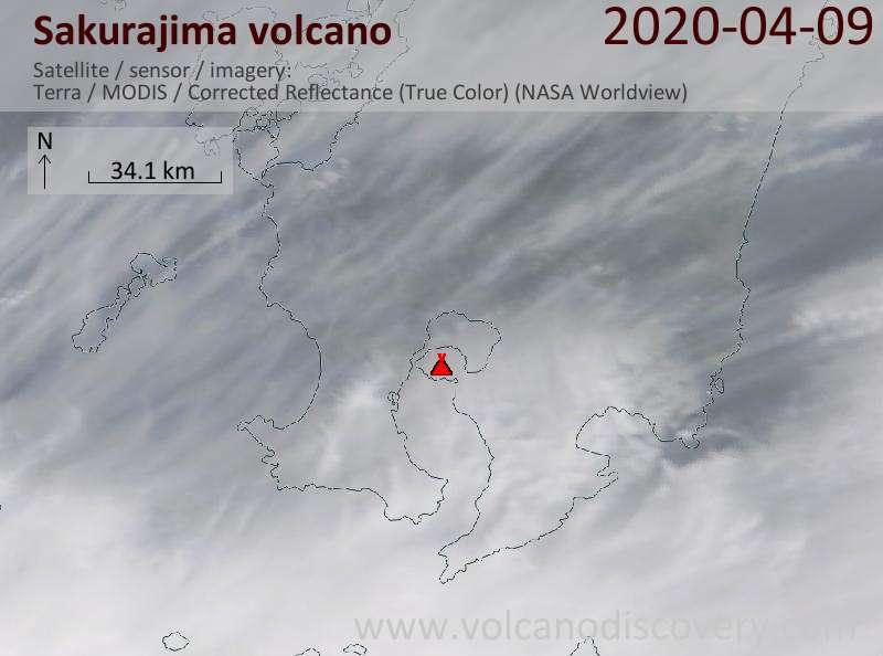 Satellite image of Sakurajima volcano on  9 Apr 2020