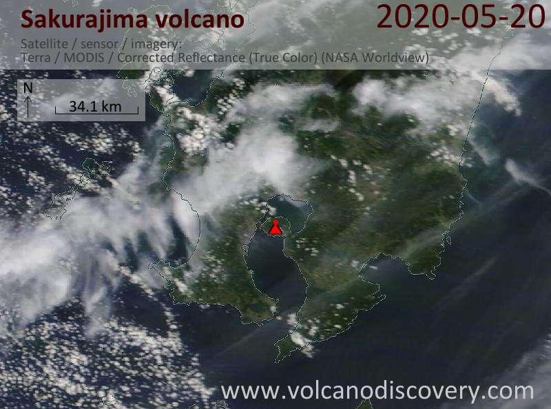 Satellite image of Sakurajima volcano on 20 May 2020
