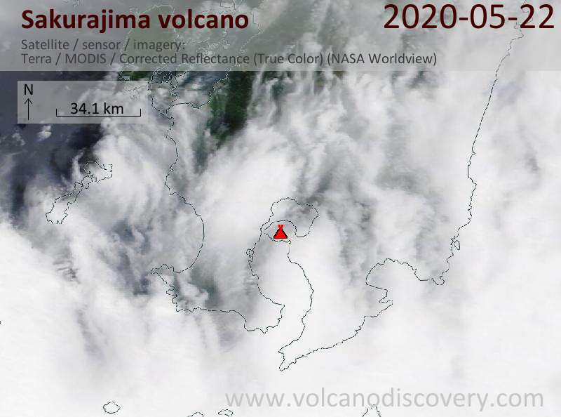 Satellite image of Sakurajima volcano on 22 May 2020