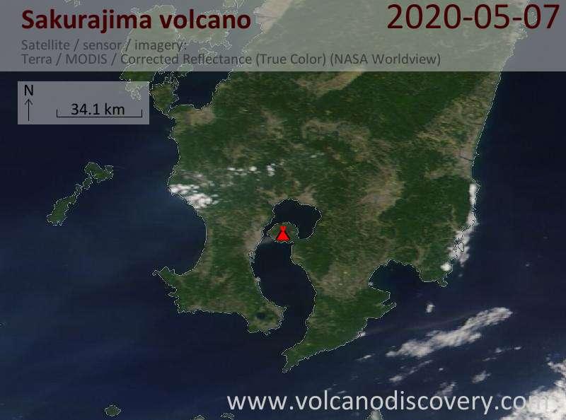 Satellite image of Sakurajima volcano on  7 May 2020