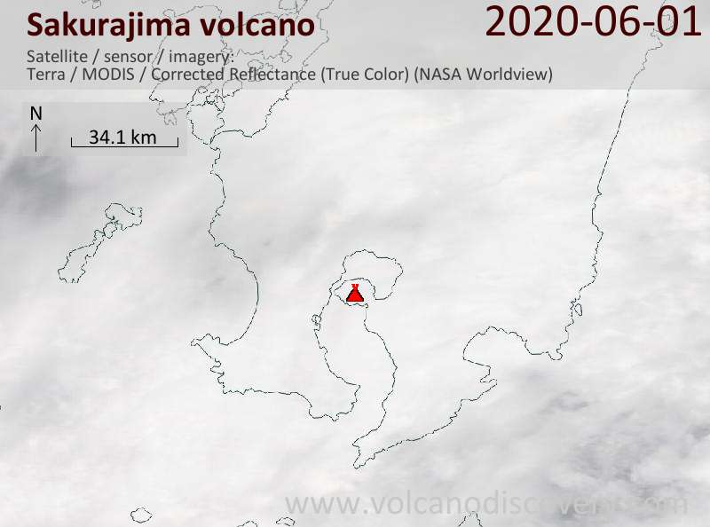 Satellite image of Sakurajima volcano on  1 Jun 2020