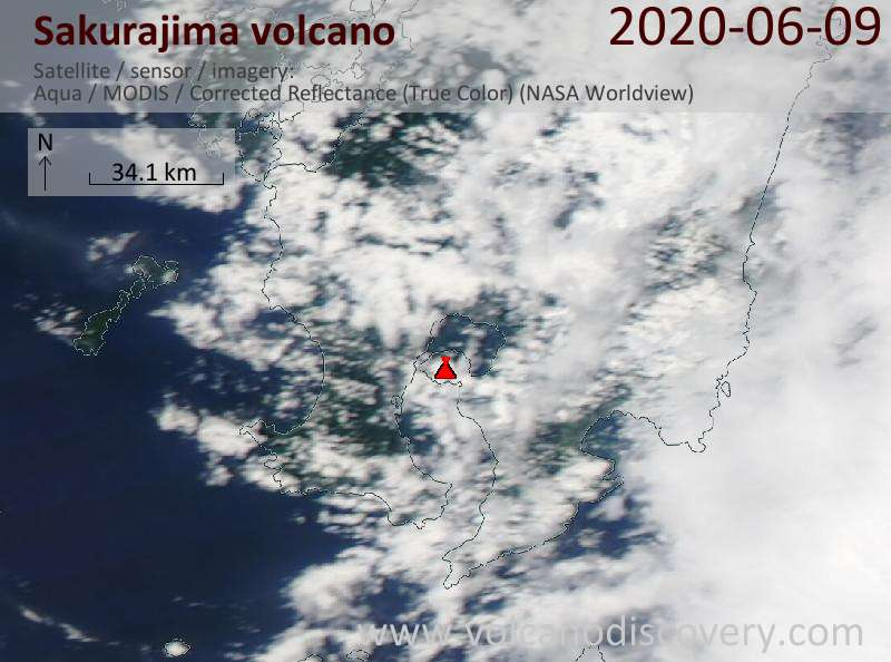 Satellite image of Sakurajima volcano on 10 Jun 2020