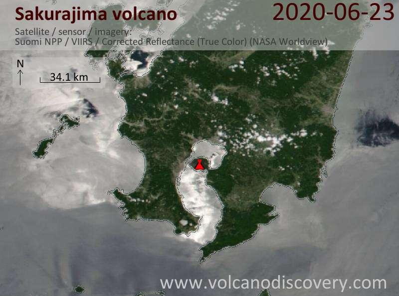 Спутниковое изображение вулкана Sakurajima 23 Jun 2020