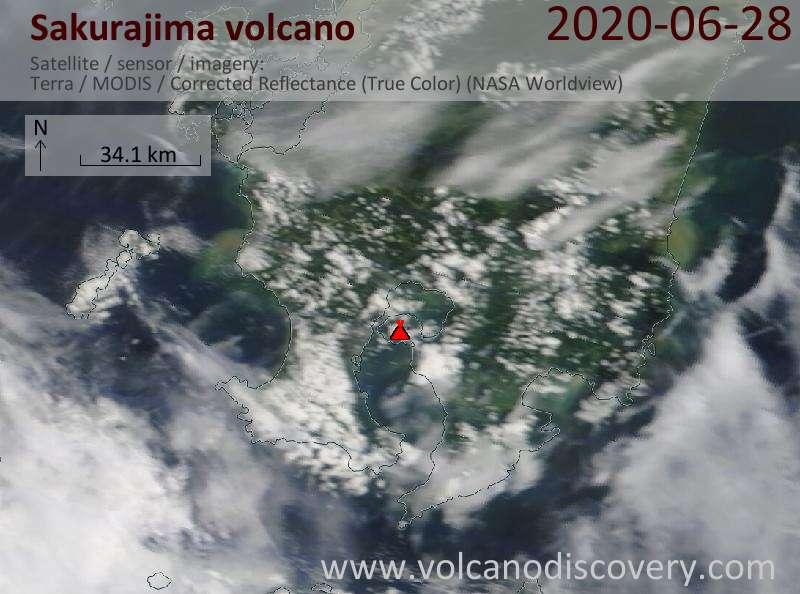 Спутниковое изображение вулкана Sakurajima 28 Jun 2020