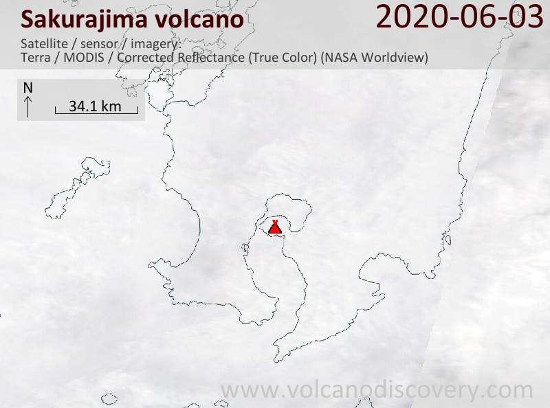 Satellite image of Sakurajima volcano on  3 Jun 2020