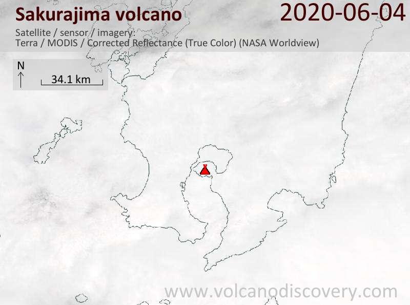 Satellite image of Sakurajima volcano on  4 Jun 2020