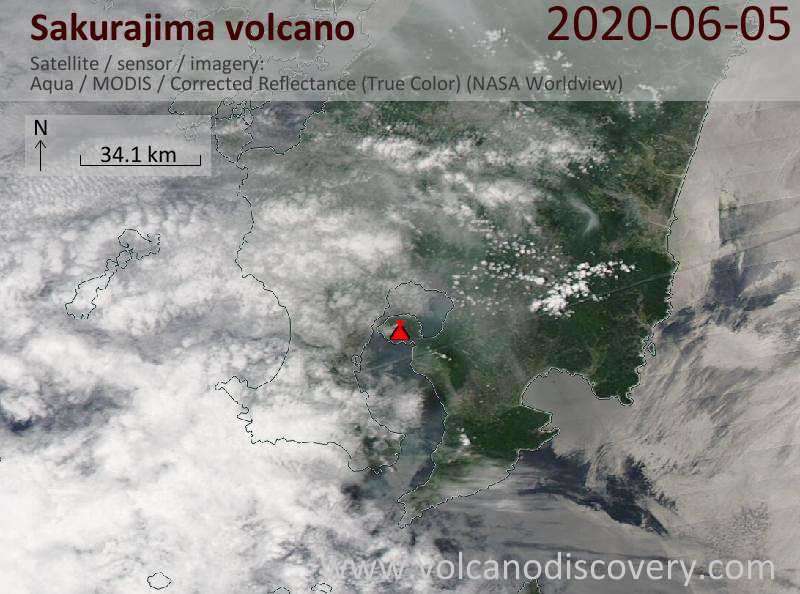 Satellite image of Sakurajima volcano on  5 Jun 2020