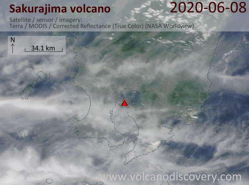 Satellite image of Sakurajima volcano on  8 Jun 2020