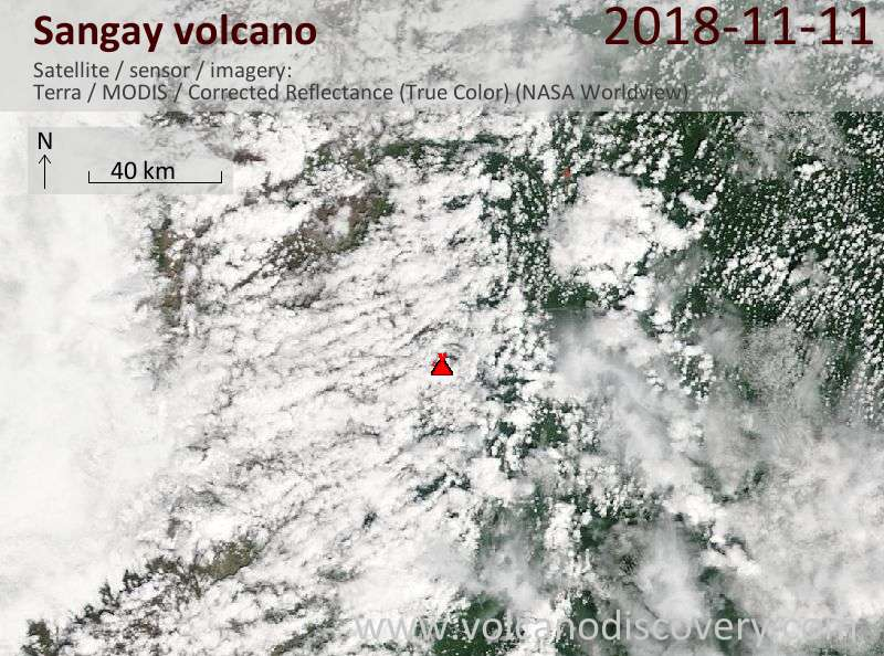 Satellite image of Sangay volcano on 11 Nov 2018