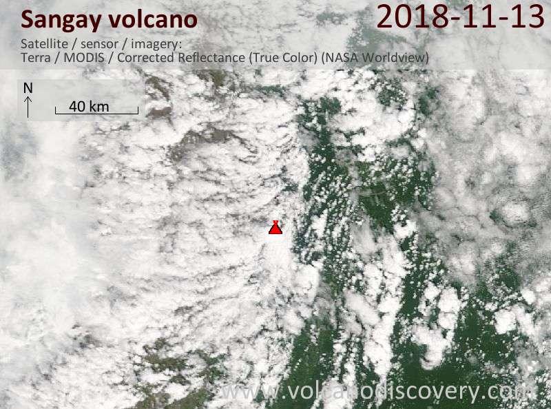 Satellite image of Sangay volcano on 13 Nov 2018