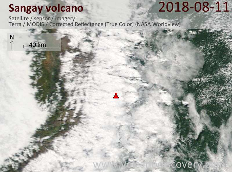 Satellite image of Sangay volcano on 11 Aug 2018