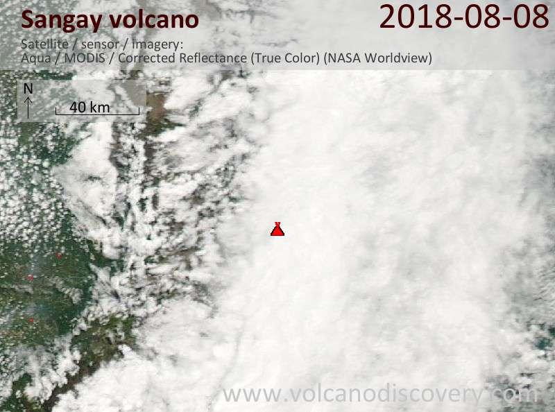 Satellite image of Sangay volcano on  8 Aug 2018
