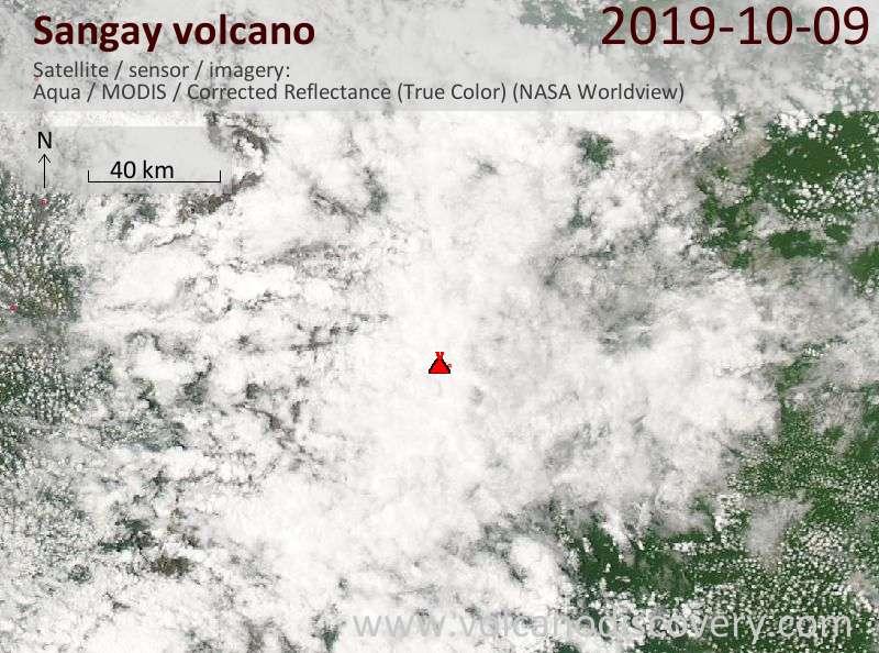 Satellite image of Sangay volcano on  9 Oct 2019