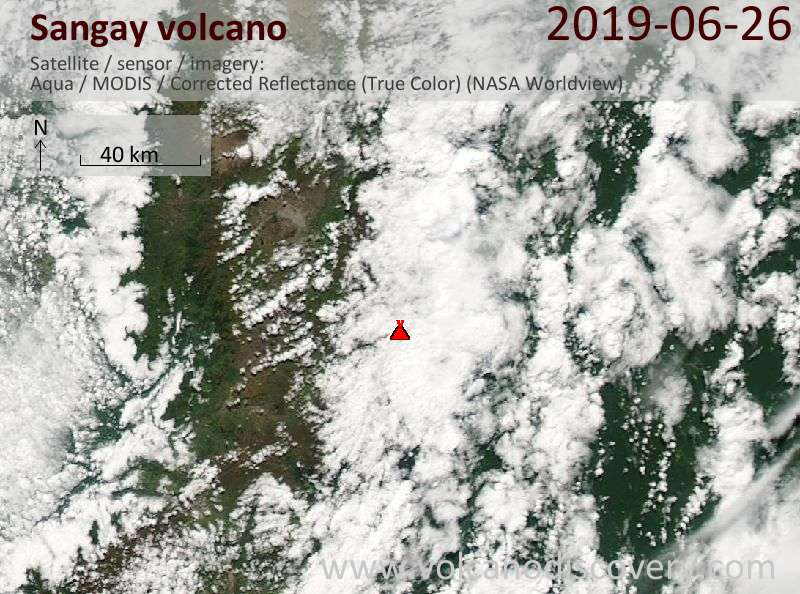 Satellite image of Sangay volcano on 26 Jun 2019