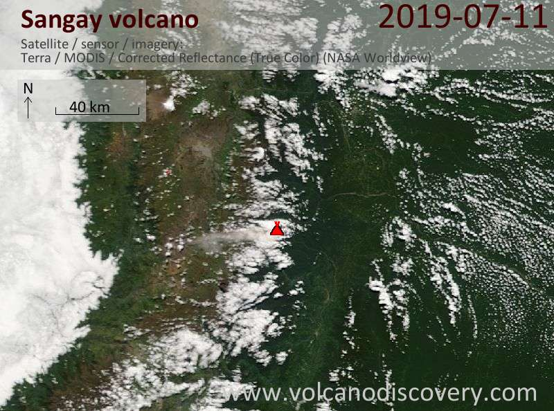 Satellite image of Sangay volcano on 11 Jul 2019