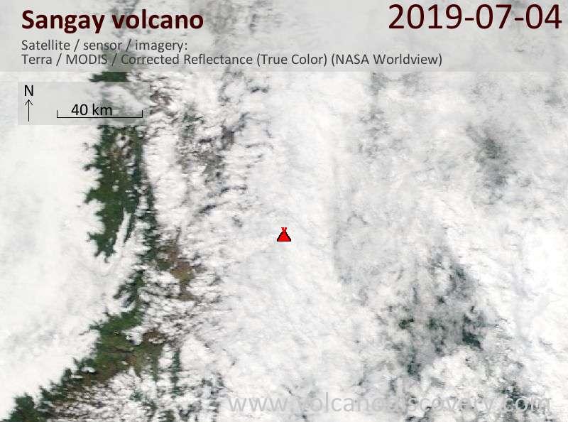 Satellite image of Sangay volcano on  4 Jul 2019