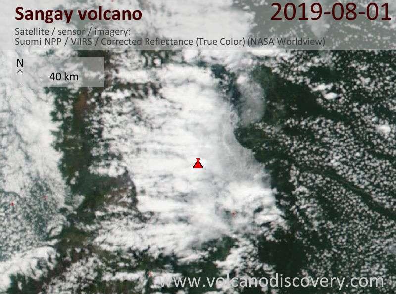 Satellite image of Sangay volcano on  1 Aug 2019